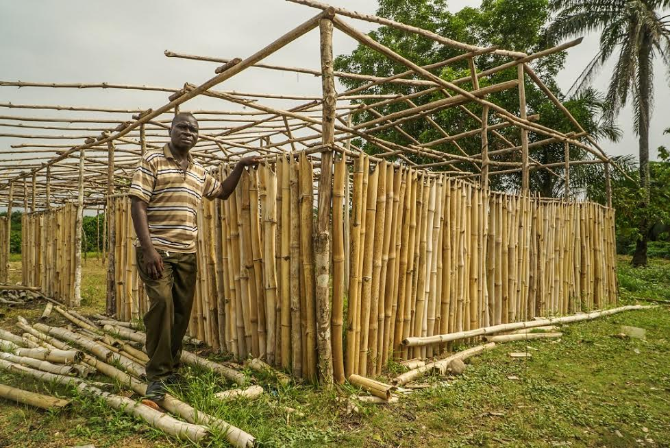 David Paye, a parent in Cinta, posing next to the makeshift annex the town is building to host kindergarten classes that were cut by Bridge.